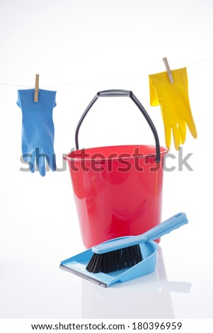 housekeeping and cleaning items on white