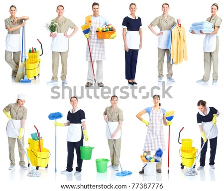 Housemaid cleaner in uniform. Isolated over white background - stock photo