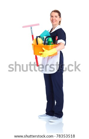 Housemaid cleaner. Isolated over white background. Service. - stock photo