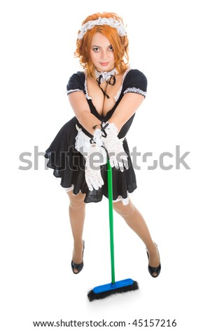 housemaid with apron and broom - stock photo