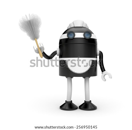 Housemaid with duster - stock photo