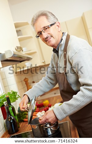 Housemaker in the kitchen cooking lunch on a stove - stock photo