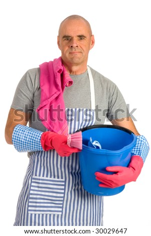 Houseman is cleaning the house with apron and tools