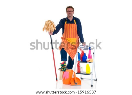 Houseman, the new man, ladder with cleaning products for daily household. - stock photo