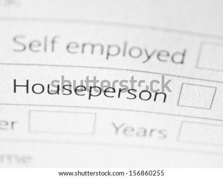 HOUSEPERSON printed on a form close up - stock photo