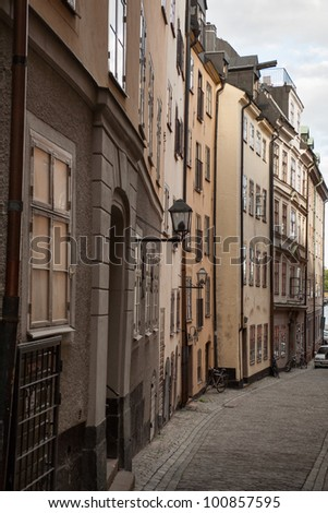 Houses along a street, Gamla Stan, Stockholm, Sweden