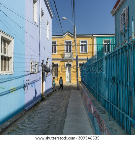 Houses along a street, Valparaiso, Chile - stock photo