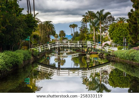 Houses and bridge along a canal in Venice Beach, Los Angeles, California. - stock photo