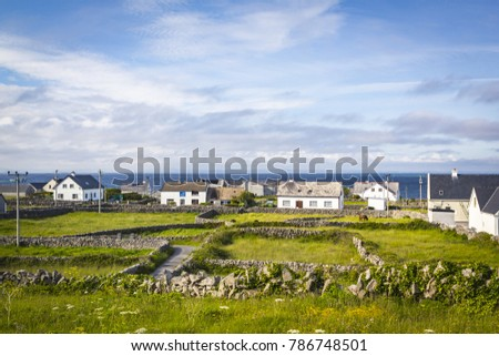 Houses and Stone Walls on the Aran Island of Inisheer, County Galway, in the West of Ireland