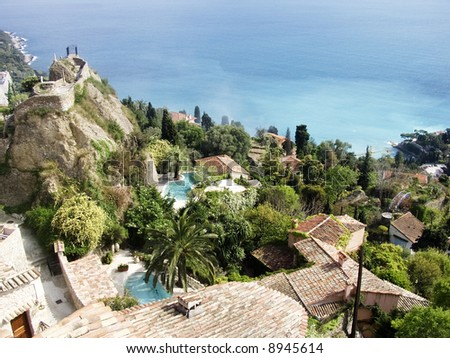 Houses and swimming pools on the  coast of the french riviera south of france cote d'azur provence france.