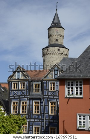 Houses and tower in Idstein, Germany