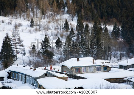 houses are  covered with heavy snow - stock photo