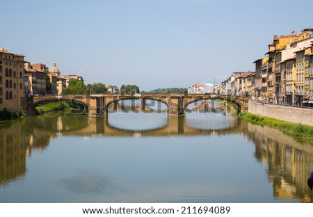Houses  Arno River and bridges of Florence, Tuscany, Italy