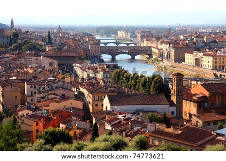 Houses, Arno River and bridges of Florence, Tuscany, Italy - stock photo