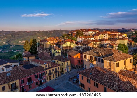 Houses at sunset in small town of Diano D'Alba in Piedmont, Northern Italy (view from above). - stock photo