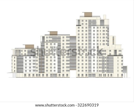 Houses, Buildings, Constructions, Installations. Illustrations of buildings and houses urban sites, drawings of homes classic architecture .  - stock photo