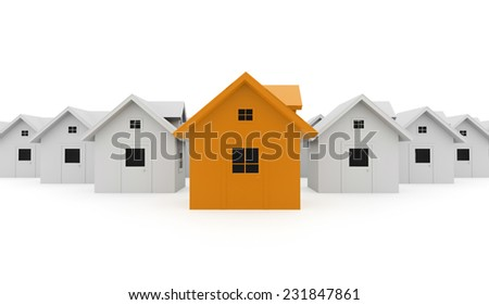 Houses business concept one is orange