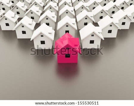 Houses concept one is pink rendered - stock photo