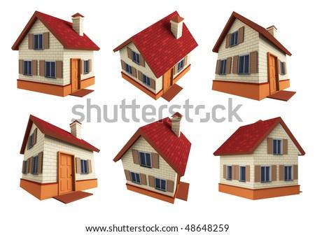 Houses. 3d - stock photo
