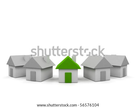 Houses - 3d render illustration on white background. - stock photo