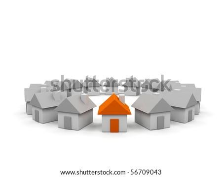 Houses - 3d render illustration on white background. - stock photo