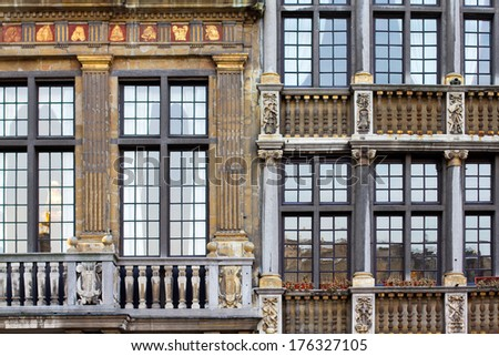 Houses facades in Brussels, Belgium - stock photo