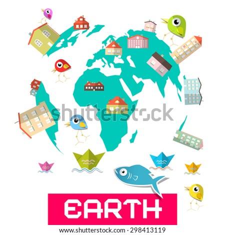 Houses - Fish and Birds on Globe - Earth Illustration - stock photo
