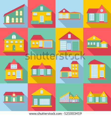 Houses icons set. Flat illustration of 16 houses  icons for web