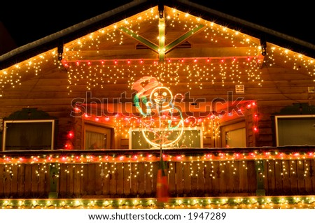 Houses in alpine village of Leavenworth, WA decorated in December - stock photo