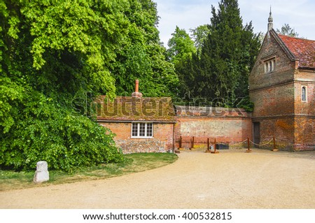 Houses in Backyard of Audley End House in Essex in England. It is a medieval county house. Now it is under protection of the English Heritage. - stock photo