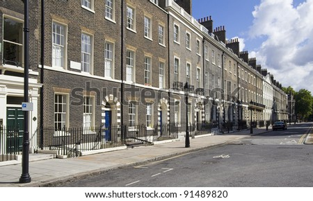Houses in Bloomsbury in London, UK - stock photo