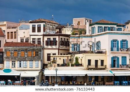 Houses in Chania, Crete, Greece - stock photo