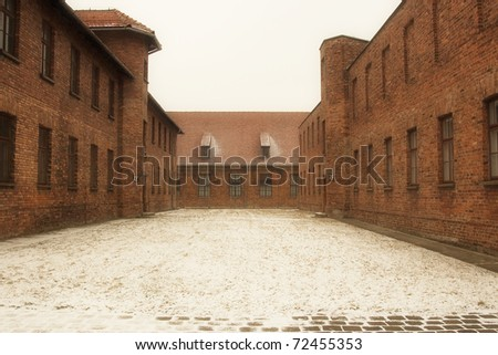 Houses in concentration camp. Auschwitz. Ploand