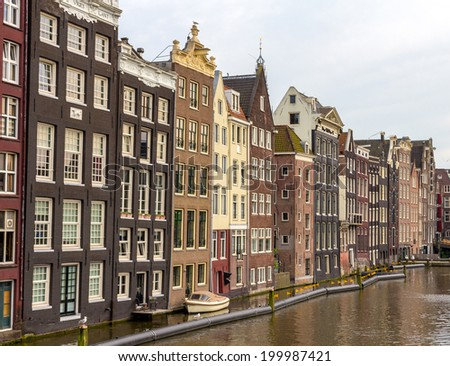 Houses in Damrak district of Amsterdam