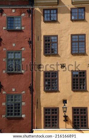 Houses in Gamla Stan, Stockholm - stock photo