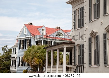 Houses in Historic Charleston, South Carolina - stock photo