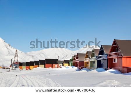 Houses in Longyearbyen - stock photo