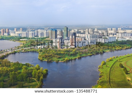 Houses in Moscow, Russia - aerial view - stock photo