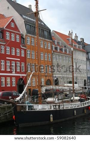 Houses in Nyhavn in Copenhagen Denmark - stock photo