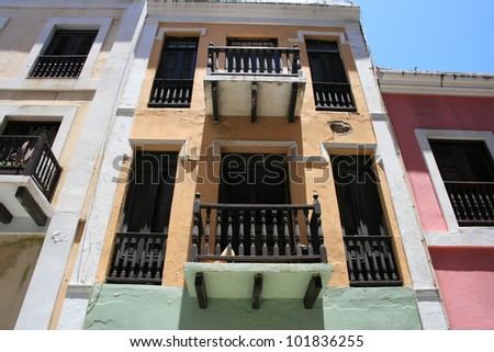 Houses in Old San Juan, Puerto Rico - stock photo