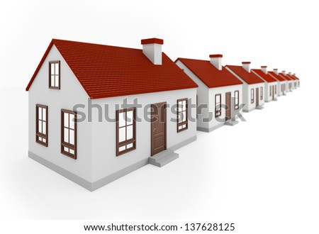 Houses in row on the white background