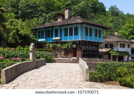 Houses in the ethnographic museum Etar in Gabrovo, Bulgaria. - stock photo