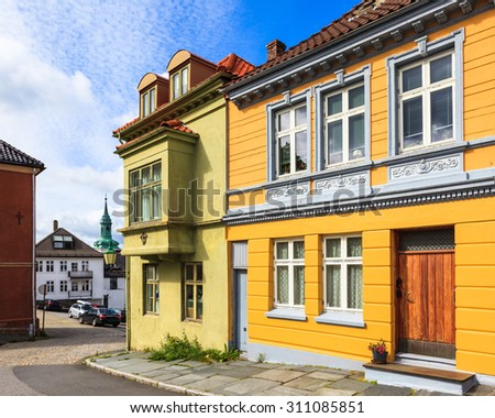Houses in the historic city of Bergen, Norway. - stock photo