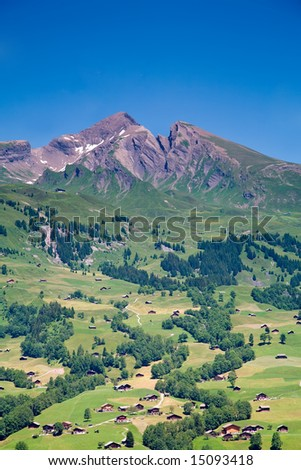 Houses in the Mountains in the Canton of Bern in Switzerland - stock photo