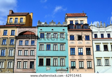 Houses in the Old Town of Warsaw, Poland. - stock photo