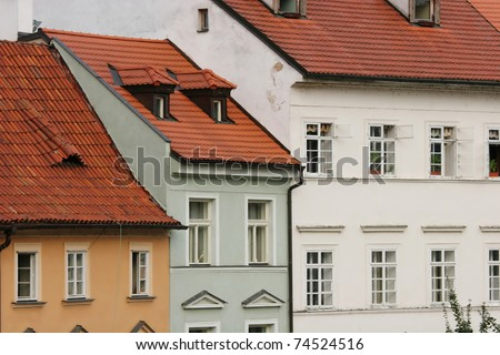 Houses in the old town (Prague, Czech Republic) - stock photo