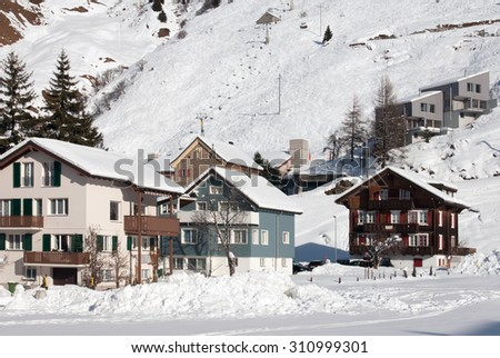 Houses in the picturesque ski resort of Andermatt, Switzerland