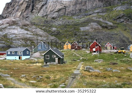 Houses in the village of Appilatoq, Greenland - stock photo