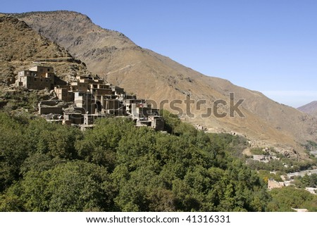 Houses in the village of Imlil in Toubkal National Park, Morocco - stock photo