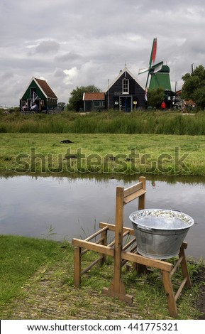 Houses in the Zaanse Schans which is a populair tourist attraction in the Netherlands